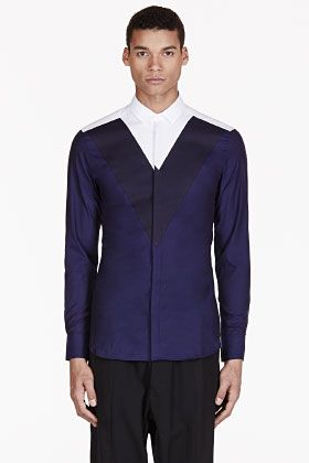 Neil Barrett Navy & White Colorblocked Shirt for men   SSENSE
