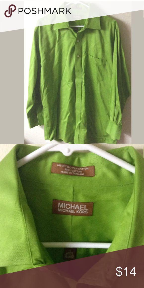 Michael Kors MICHAEL XL lime green dress shirt Sz 17 men's dress shirt great condition MICHAEL Michael Kors Shirts Dress Shirts