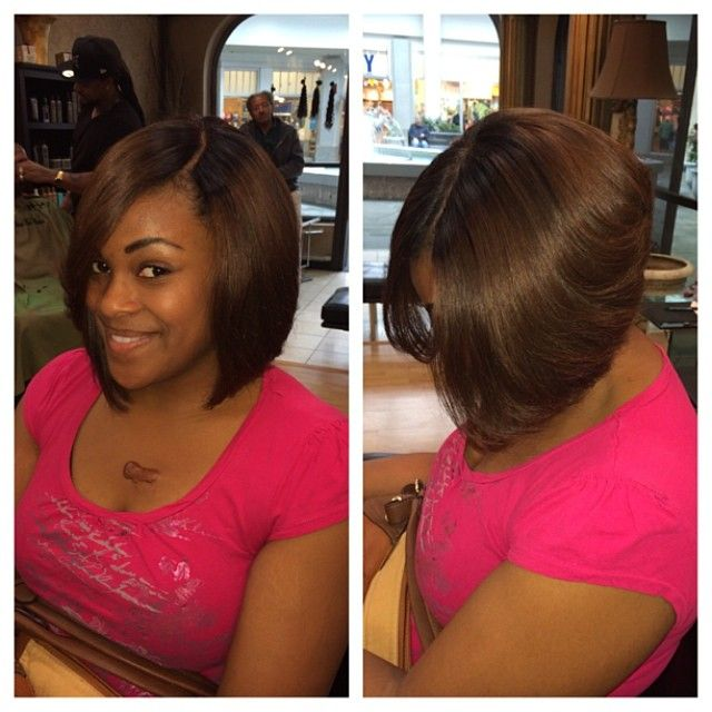 "Full sew in bob with a closure!!! 12 & 14 inches and a 14' closure dyed brown emoji ""what closure tho?"""