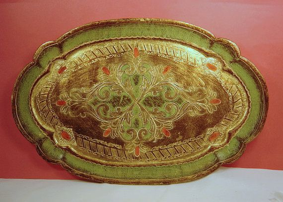 Paper Mache Serving Tray Oval Green Gold Hand Painted