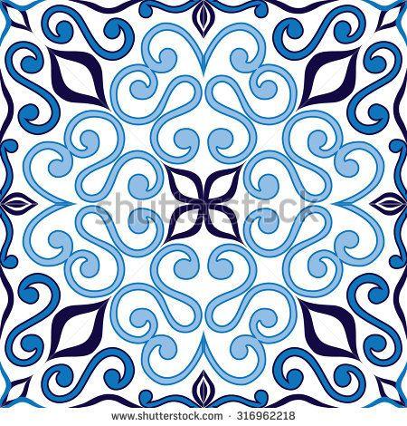 Tile background, blue, white,Arabic,majolica pattern.