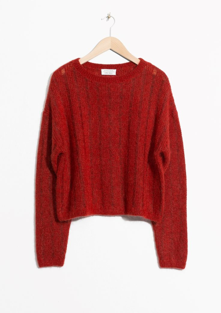 & Other Stories image 1 of Fuzzy Mohair & Wool Knit in Red