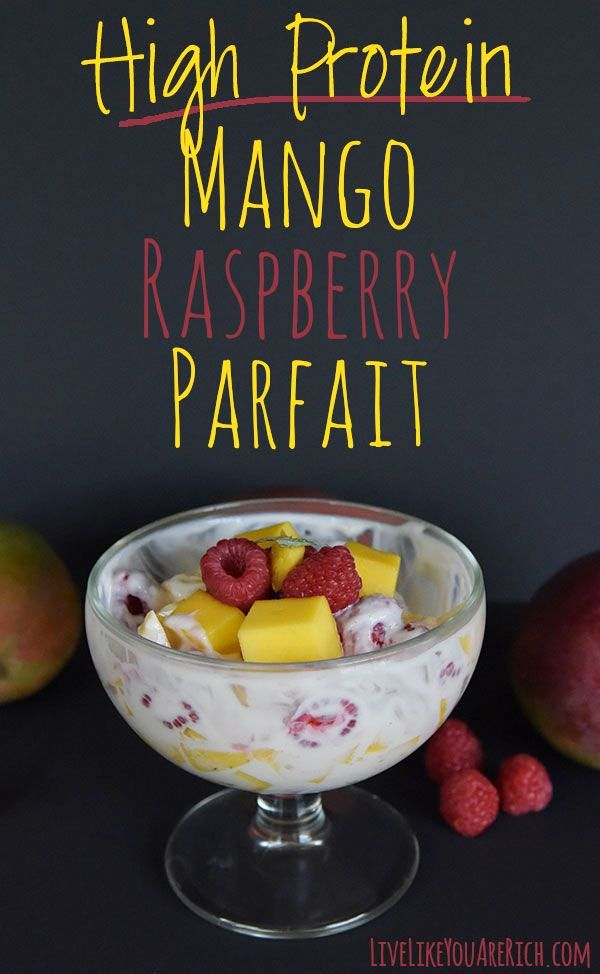 High Protein Mango Raspberry Parfait. Ripe luscious and sweet mangos paired with juicy and lightly tart raspberries make an AMAZING combination of flavor. #LiveLikeYouAreRich