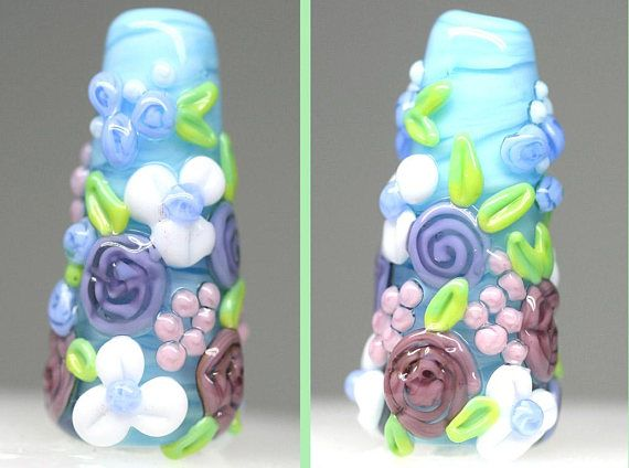 Blue Purple Floral bead lampwork flowers focal pendant Flower