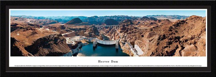 Hoover Dam Panoramic Picture Framed- Looking Downstream