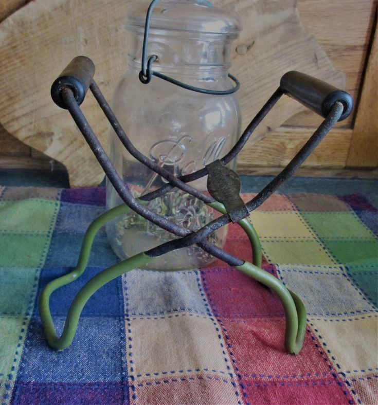 Canning jar Earthgrown lifter/tongs vintage green patina rustic kitchen by BlueMoonRevival on Etsy