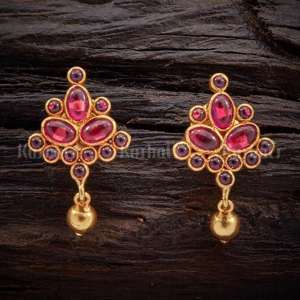 Designer silver temple earrings studded with spinal ruby