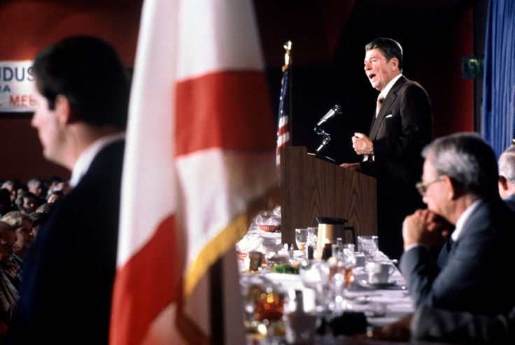 Magnum Photos Gilles Peress USA. Alabama. 1980. Ronald REAGAN speaks to Alabama business people while campaigning for the presidential election