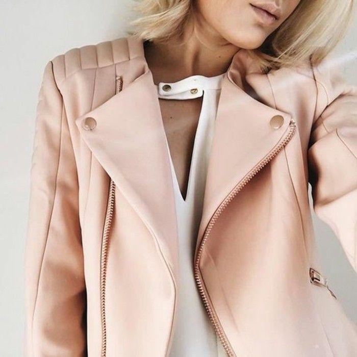 0 veste en cuir de couleur rose pale tendances de la mode veste en cuir rose