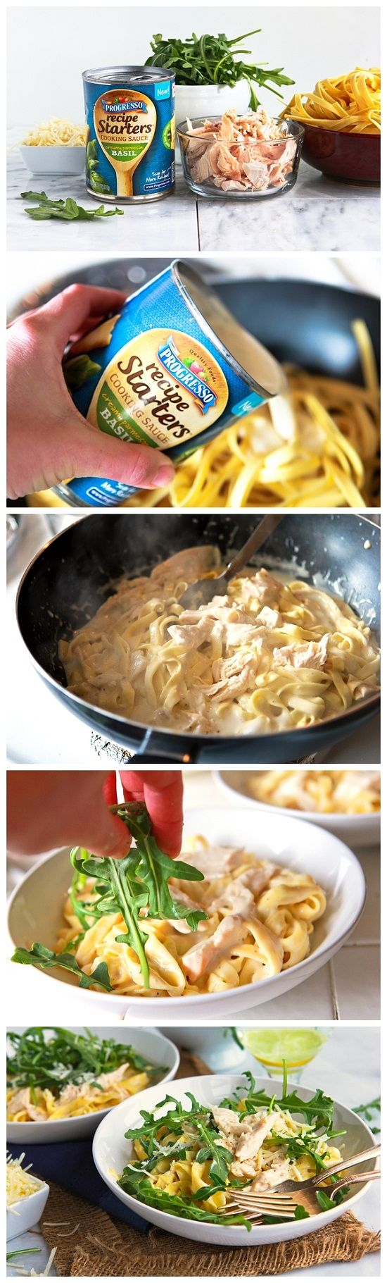 10-Minute Creamy Basil Chicken Dinner-      9 ounces fresh fettuccine (found in the refrigerated section of most grocery stores)      1 (18 ounce) can Progresso Recipes Starters, Creamy Parmesan Basil flavor      1 cup water      1/4 cup fresh Parmesan, shaved or shredded      2 cups arugula      1 cup cooked rotisserie chicken, diced