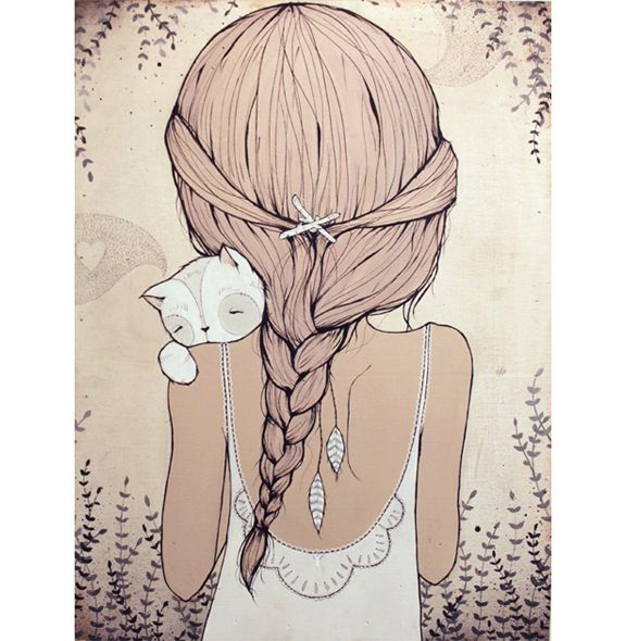 """""""Stay close""""  – girl from behind with cat   by Kelly Murray"""