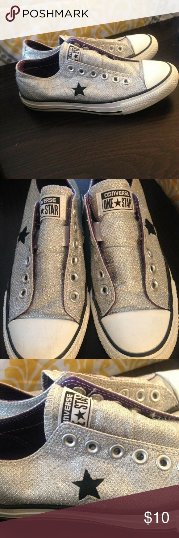 Silver Converse All Stars size 6 silver Converse All Stars. Good condition! Converse Shoes Athletic Shoes