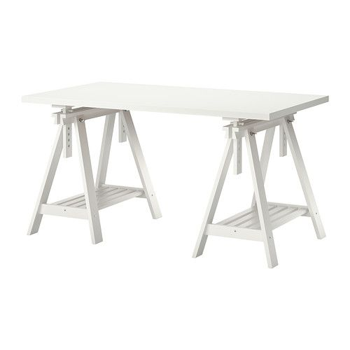 IKEA - LINNMON/FINNVARD, Table, white, , You can choose a flat or tilted table top, which is good for writing, painting or drawing, by adjusting the trestle.Plenty of room on the shelf under the trestle for your printer, books or papers. That keeps your table top clear so you have more room to work.