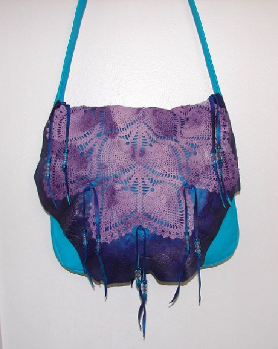 "ReADY to SHiP!! Leather Handbag TURQUOISE Purse Fringe Beaded Hobo Bag "" LACE PURPLE"" Crocheted flap Over Purse Handmade by Debbie Leather by dleather on Etsy https://www.etsy.com/listing/114208565/ready-to-ship-leather-handbag-turquoise"