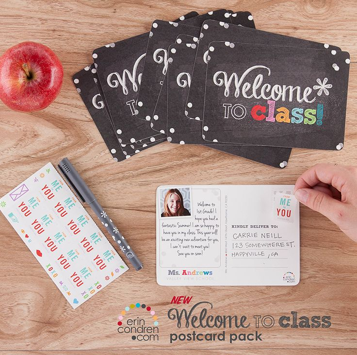 Welcome your class in style! #ECcoolforschool #ErinCondren #Postcards #Teachers #BackToSchool