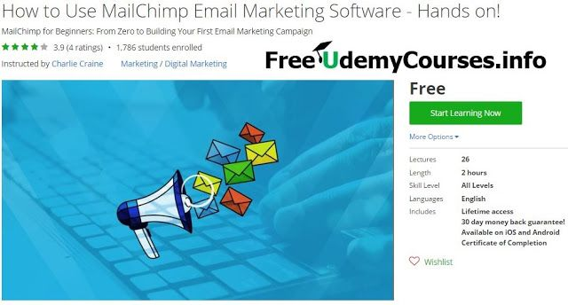 [Udemy #BlackFriday] How to Use #MailChimp Email Marketing Software - Hands on!   About This Course  Published 4/2016English  Course Description  Learn how to useMailChimp email marketing softwarestep-by-step. This course is a hands-on course that walks y