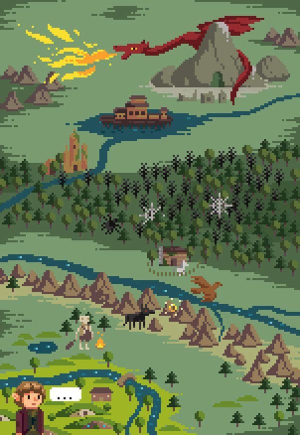 Mapa de El hobbit en píxeles.