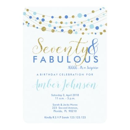 70th birthday party invitation blue and gold card - party gifts gift ideas diy customize