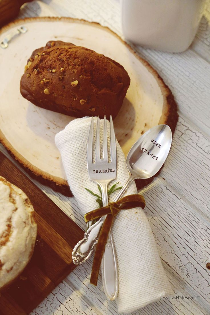 GIVE THANKS-Hand Stamped Vintage Serving Set for your Thanksgiving Table.