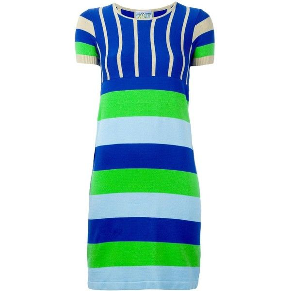 Walter Van Beirendonck Vintage Striped Knit Dress ($288) ❤ liked on Polyvore featuring dresses, striped short sleeve dress, stripe knit dress, striped dress, short-sleeve dresses and stripe dresses