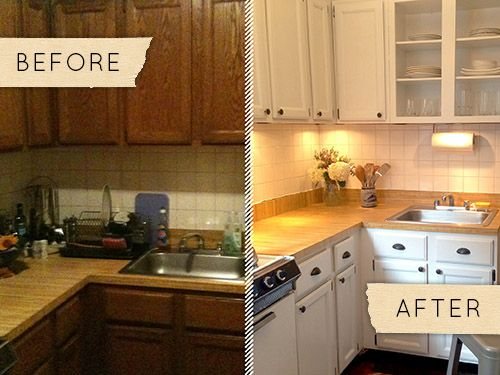 White paint, better lighting, new hardware makes for a bright new apartment kitchen. from Design*Sponge