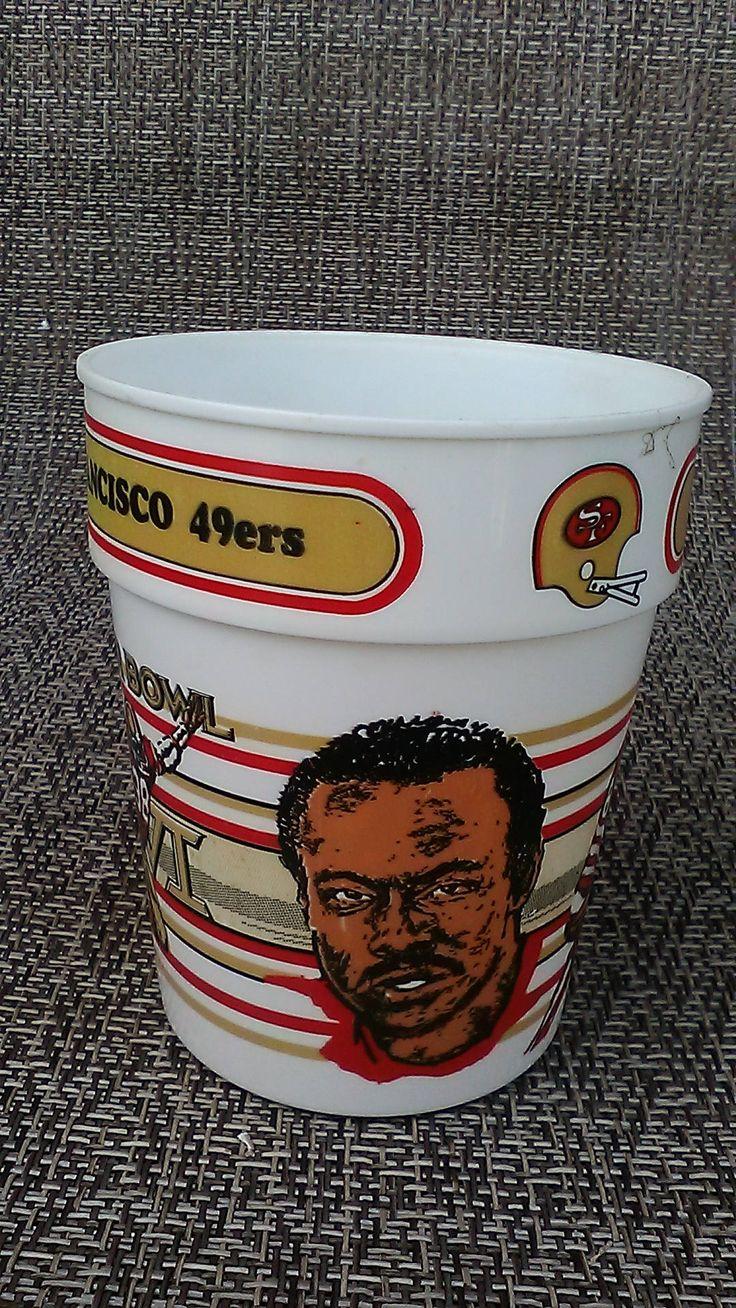 San Francisco 49ers Super Bowl XVI Freddie Solomon NFL collector series collectible plastic mugs Joe Montana Cincinnati Bengals by finleysvintage on Etsy