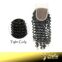 Free Parted  Tight Curly 4''x3.5'' (H/L) QWB Top Closure Bleached Knots Hand Tied Free Shipping Top Grade Lace Closure
