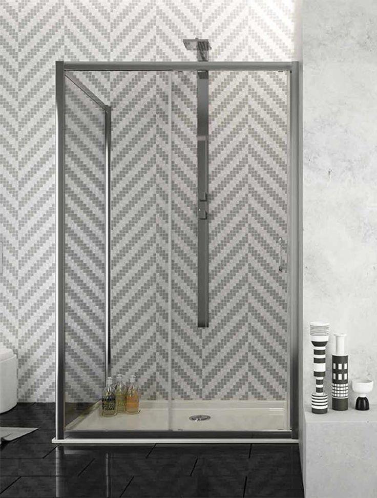 Box #doccia angolare scorrevole #cristalli in vetro temperato e struttura in #alluminio anodizzato