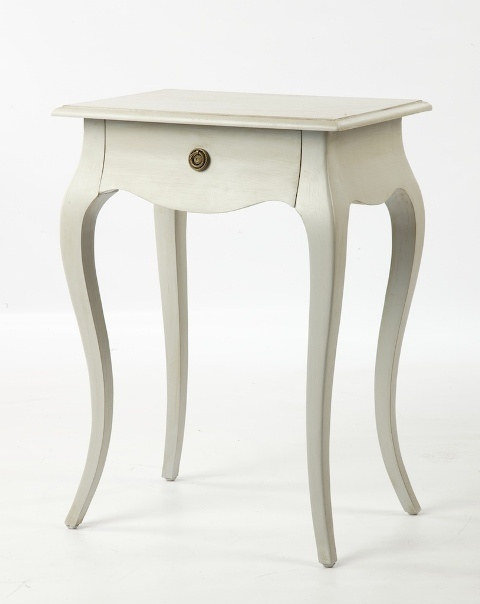 Margaux French grey single drawer side table with antique finish.