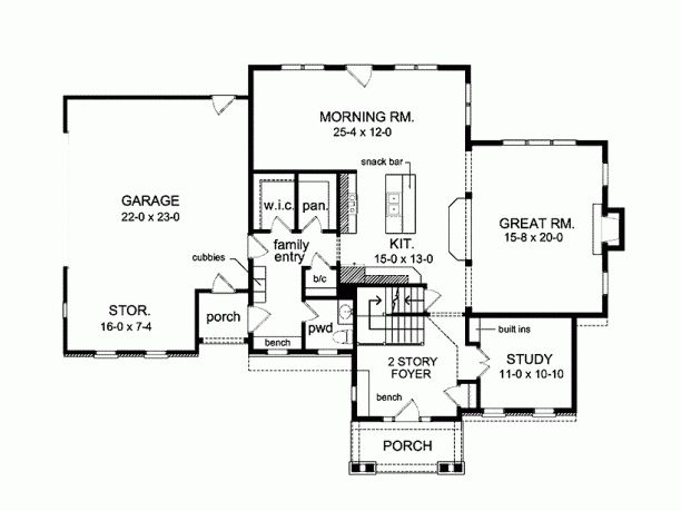 Awesome 4 bedroom 2 5 bath floor plan with large garage for Separate garage