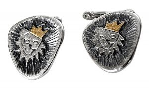 Lion cufflinks in sterling silver and gold plate - $270