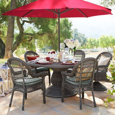 Hand Woven Of Easy To Clean Synthetic Wicker Over A Sturdy, Rust. Patio  TablesRound ...