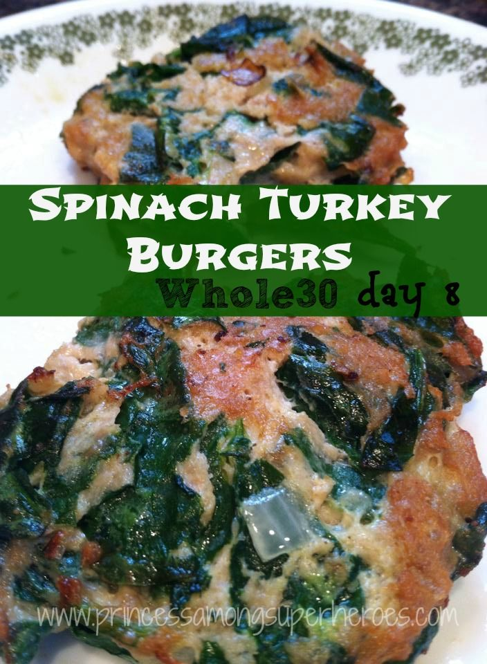 Spinach Turkey Burgers (Use kale, olive oil)