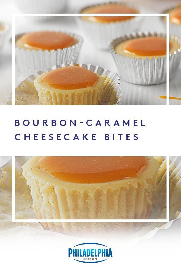 You'll be the MVB (Most Valuable Baker) when you bring these Bourbon-Caramel Cheesecake Bites to your game day party. #ItMustBeThePhilly