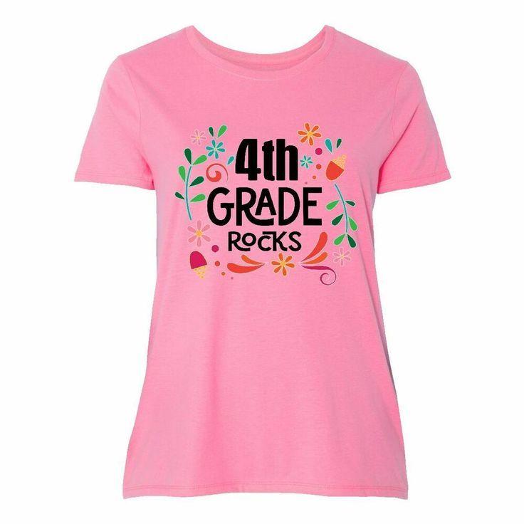Inktastic 4th Grade Rocks Zurück in die Schule Frauen Plus Size T-Shirt Lehrer ...