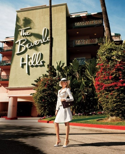 The Beverly Hills Hotel sets the scene for a photo shoot featuring Old Hollywood style, in the May 2012 issue of Harpers Bazaar.
