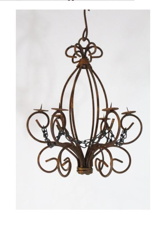 Antique Wrought Iron Chandelier With Candles With Images