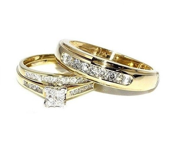 14k Yellow Gold Over His Hers Diamond Engagement Bridal Ring