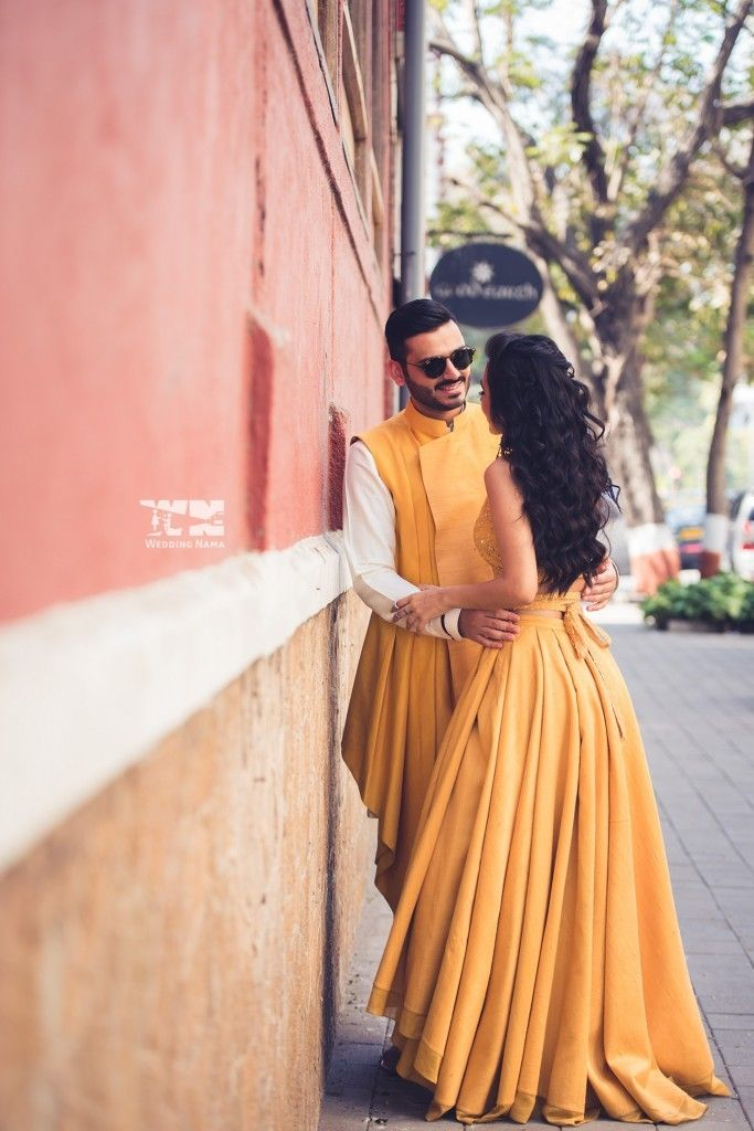 Our fun couple photo shoot before one of our functions! See more on the blog! {Fun photoshoot ideas, pre-wedding shoot, bride and groom photo ideas, yellow lehenga, Masoom Minawala