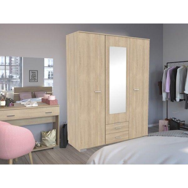 Parisot Galaxy 3 Door Mirrored Wardrobe - 3 Finishes - Brooklyn Oak, White & Roman Walnut