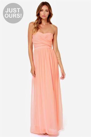 LULUS Exclusive Slow Dance Strapless Peach Maxi Dress at LuLus.com!  #weddingguestdress #weddingfashion #weddings