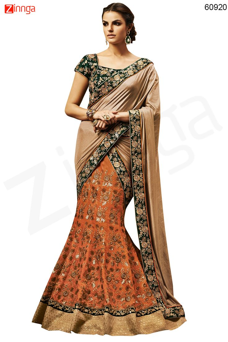 Women's Pretty Fish cut Lehenga Style in Orange Color Message/call/WhatsApp at +91-9246261661