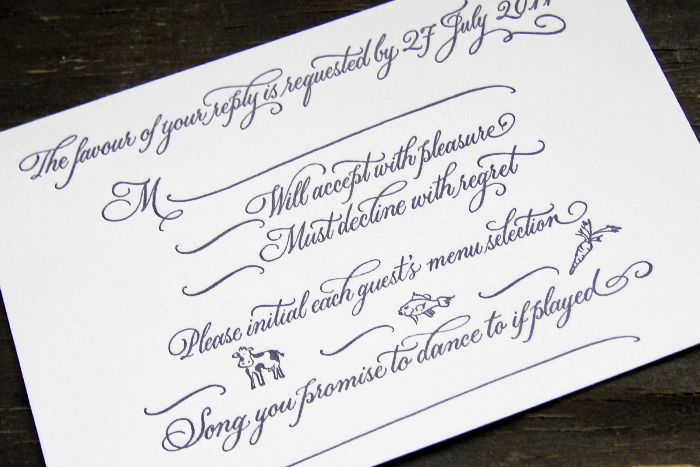 Letterpress wedding invitations suite - whimsical calligraphy response card (look at that cow!!)