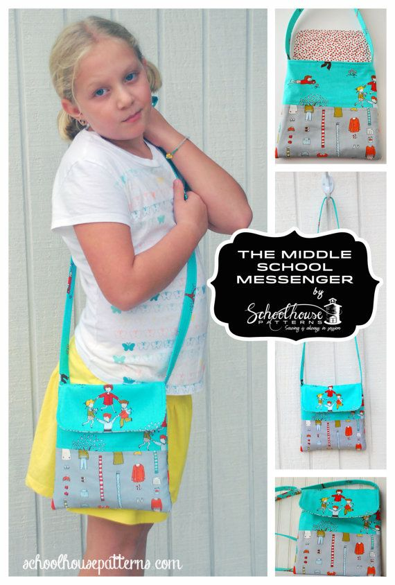 The Middle School Messenger bag sewing pattern by Schoolhouse Patterns. A cross body bag for young ladies.