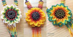 Coloridos collares en chaquiras. Diseño Flor 3D Realizado en Mexico Arte Huichol  Colores y Cantidades disponibles: Flor Naranja + Amarillo 1