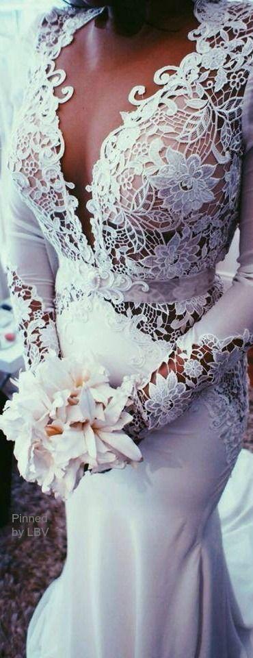 Floral detail white latest wedding dress
