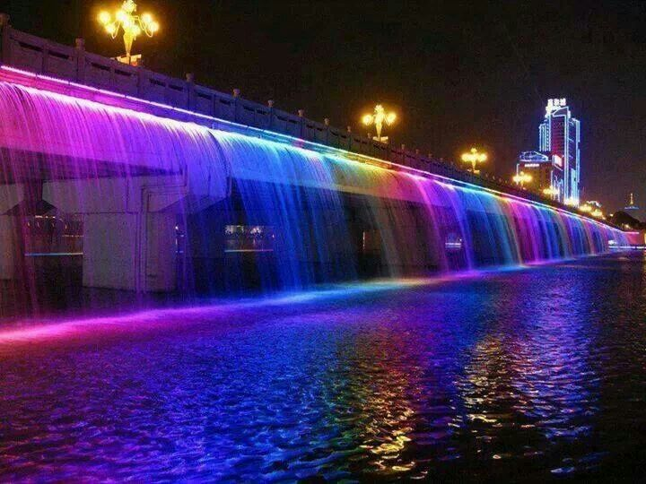 Waterfall w color lights