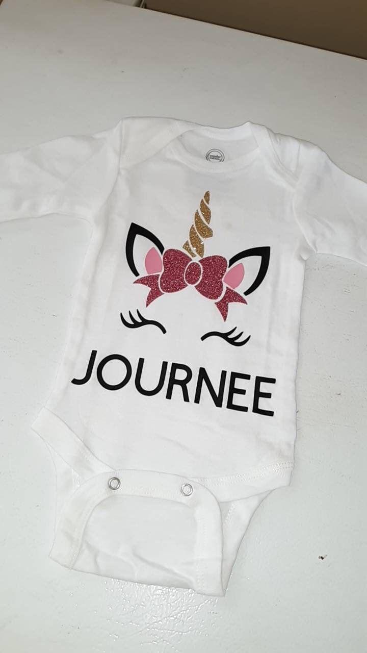 Unicorn Birthday Girl Onesie Unicorn Custom Baby Onesie Unicorn Baby Shower Unicorn Baby Onesie