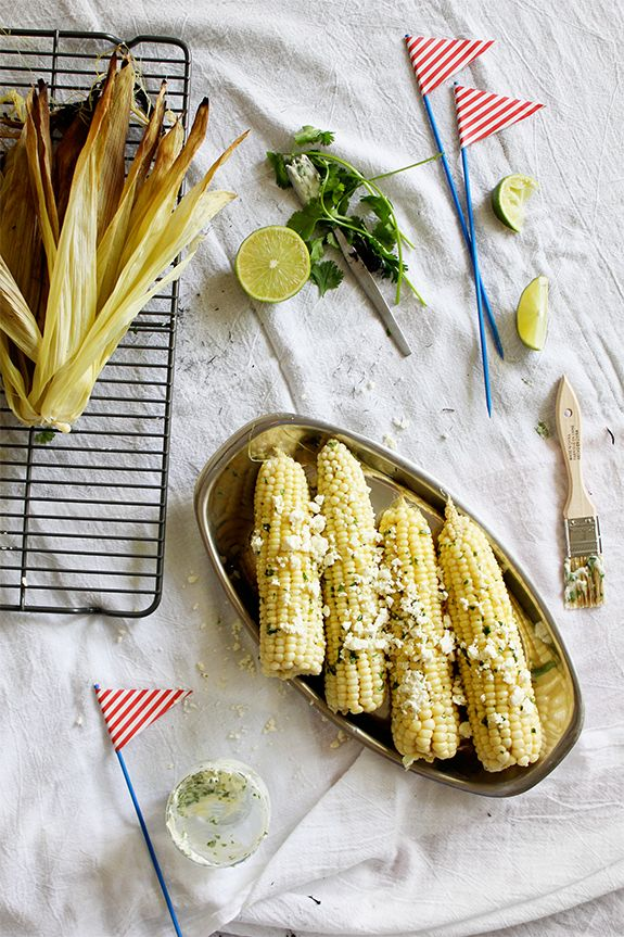 Grilled corn on the cob with cilantro lime butter and feta via