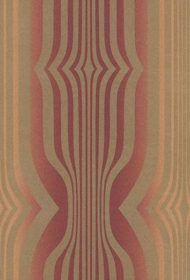Concord (DVIWCO107) - Sanderson Wallpapers - A 60's inspired optical geometric design  with a beautiful shaded stripe effect behind.  Available in 7 colourways, shown in the red fading to orange with metallic gold. Please request a sample for true colour match.